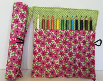 Colored Pencil Holder - Mother's Day - Crayola - Coloring Supplies - Planner Supplies - Adult Coloring - Bullet Journaling - Pink Flowers