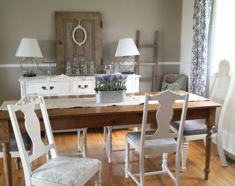 FREE SHIPPING| Shabby Chic Antique White And Grey Dining Chairs, French  Farmhouse White Chippy