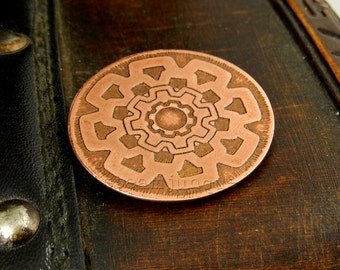 """Steampunk badge, """"Rusty's Marvellous Mechanicals"""",  copper brooch, copper jewellery, steampunk jewellery, steampunk medal, steampunk brooch"""