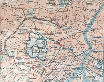 TOKYO (JAPAN) .Old map 1915's.Old print. 11,81 ins x 9,45 ins