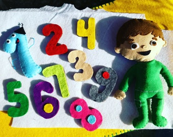 Charlie and the numbers baby TV felt doll