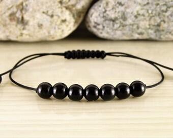 Black obsidian bracelet adjustable bracelet braided bracelet beaded bracelet thread bracelet mens bracelet handmade jewelry thin bracelet