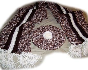 Beret/tam and matching deluxe scarf  -- 100 % acrylic -- ready to ship