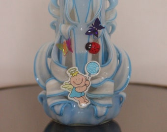 Blue carved candle for boy baby born