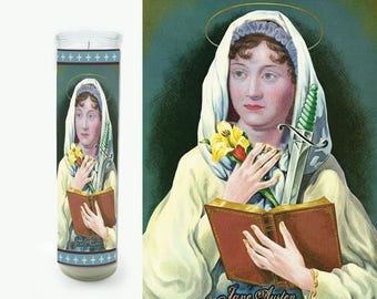 Jane Austen Prayer Candle - Jane Austen Saint Candle - Jane Austen Fan Art
