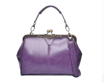 Purple Vintage Frame Kisslock Clasp Bag