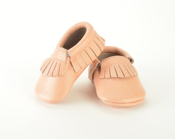 Blush pink leather baby moccasins 0-3 months 3-6 months 6-12, 12-18 months baby shoes