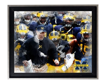 University of Michigan Wolverines Art Print Matte Print Poster 20 X 16 Splatter