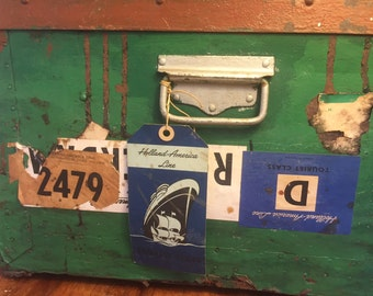 Holland America Line Trunk. Rare trunk HAL. Green Travel luggage trunk.