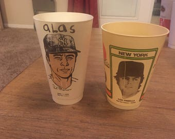 Vintage 1970s MLB 7-11 Cups - New York Yankees
