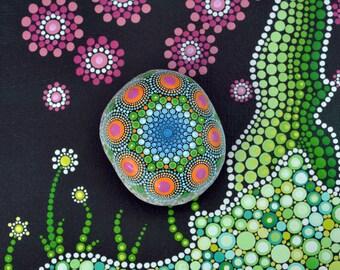 Naomi - hand-painted stone - mandala