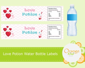 Love Potion Water Bottle Labels, Valentine's Water Bottle Labels, Waterproof Labels, Heart Love Water Bottle Wraps