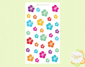 Hawaiian Flower Stickers, Hibiscus Flower Stickers, Hawaii Planner Stickers, Hibiscus Flowers, Flower Stickers, Erin Condren, Happy Planner