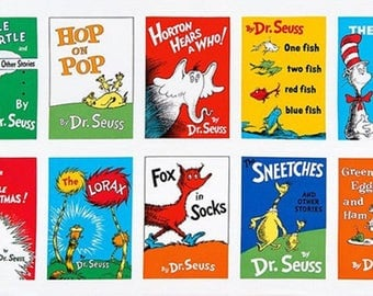DR SEUSS FABRIC / Panel For Quilting / Ten Favorite Book Covers / Hop on Pop - Cat in Hat - Horton = Lorax - More