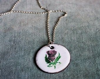 Round enamel scottish thistle pendant on a sterling silver chain