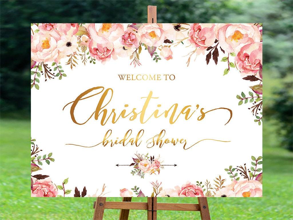 Bridal shower welcome sign bridal shower sign bridal shower for Wedding shower signs