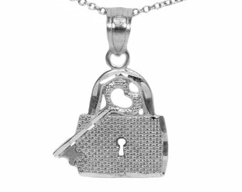 925 Sterling Silver Key and Lock Pendant