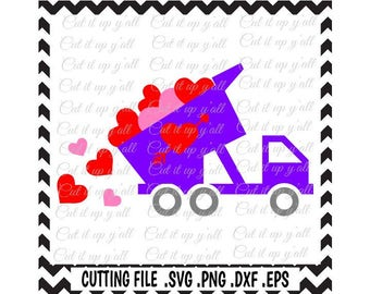 Valentine Truck Svg, Heart Dump Truck Svg-Png-Dxf-Eps-Fcm, Cutting Files For Silhouette Cameo/ Cricut and More.