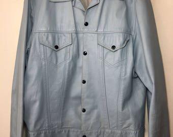 Steep Long Sleeve Vintage Blue Genuine Soft Leather Jacket Men's Size Medium.