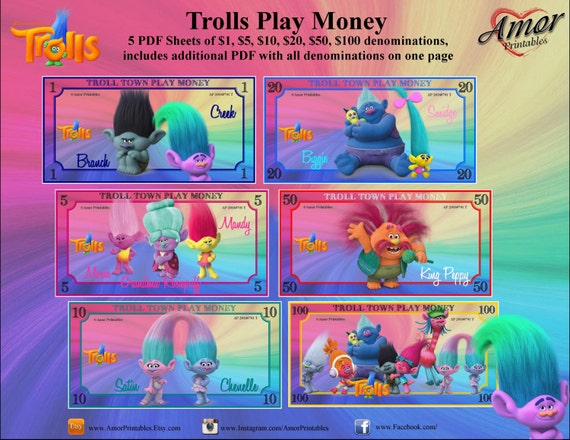 Trolls Printable Play Money