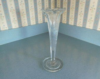 Vintage Clear Glass Bud Vase with Flowers Etched on Three Sides 10 Inches Tall