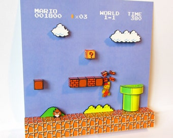 Mario (NES) Video Game Shadow Box with Frame