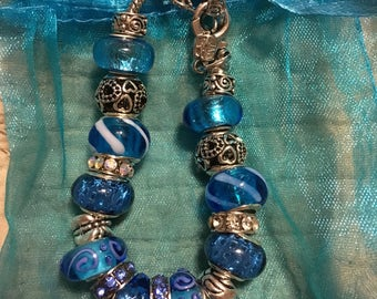 Passionate blue european style bracelet