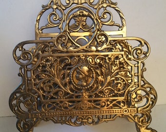 Victorian style brass letter or magazine rack, ornate