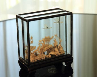 SAN YOU Chinese Cork Art - a double diorama in a glass and wood cabinet
