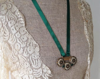 Vintage enamel and gem buckle necklace