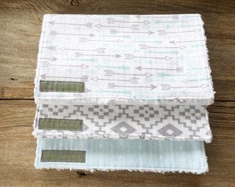 Baby Blue & Gray Handmade Burp Cloths, cotton chenille, set of 3, baby boy gift