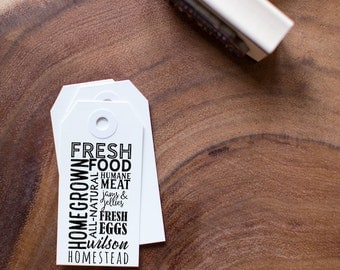 Customizable Stamp - Fresh Food, Homegrown, Humane Meat, Jams & Jellies, Personalized for your Homestead or Farm - Choose your Own Text!