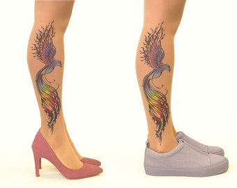 Tattoo Tights/Pantyhose with Firebird - FREE SHIPPING