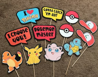 12-pack Pokemon Photo Booth Props | Pokemon Party Props | Photo Props