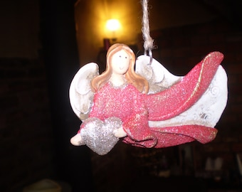 Danish Ceramic Flying Christmas Angel with Heart,Hanging tree or window decoration