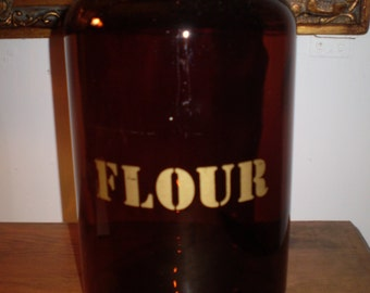 Vintage 1970s English Kitchenalia,Heavy Glass Flour Storage Jar,Container with Screw Top,Great condition