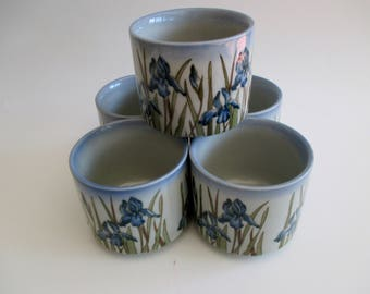 Otagiri Blue Iris Tea Cups, Otagiri Tea Cups, Japanese Tea Cups, Vintage Otagiri Tea Cups