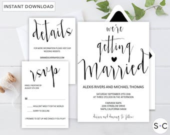Black and White Modern Calligraphy Wedding Invitation Template, Rustic Wedding Invitation, Printable Wedding Invitation