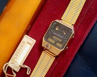 CITIZEN ANA-DIGI Analog Digital Temperature Watch, Citizen Ana Digi Temp Quartz Watch, Japanese Citizen Analog Digital Temperature Watch