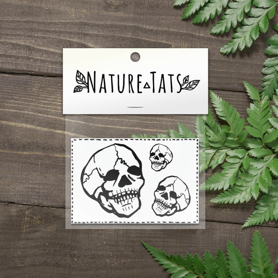 Tiny Skull Temporary Tattoo, Collection of 3, Knuckle Tats, Simple Black Line Design, Tiny Tat Collection