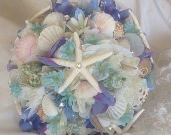 Seashell bouquet, purple bouquet xo bouquet