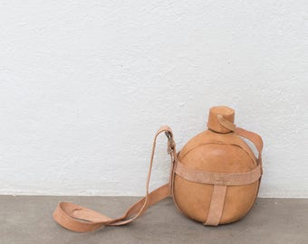 Raw Leather Water Canteen