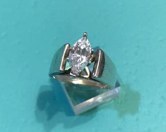 Size 8, vintage Sterling silver engagement ring, solid 925 silver with crystal, stamped 925 SU
