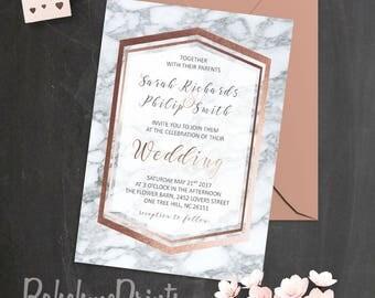 Rose Gold Marble Wedding Invitation Geode Wedding Suite Printable Rose Gold Wedding Invitation Set Marble Invitations Geode Wedding Invites