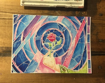 Beauty and the Beast Stained Glass Window Art Print