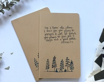 Camping moleskin journal with customizable verse or quote