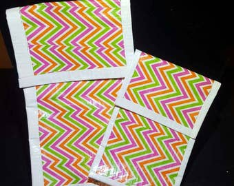 Set Of 2 Funky zig zag Large & small  duct tape pouch