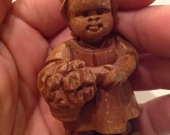 Hand carved figurine, hand carved girl, wooden Apple, little girl with basket
