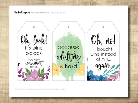 Printable wine tags printable gift tags make your own for How to print your own labels at home