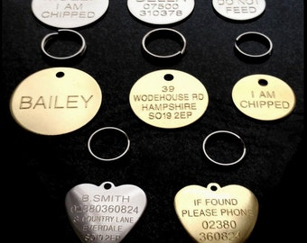 Engraved Pet Tags ID Disc Tag Cat Dog Puppy Kittens Brass or Nickel plated Round Discs + Split Ring